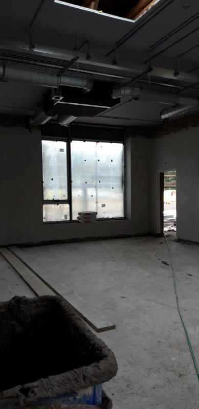 Classroom interior: ventilation system going in!